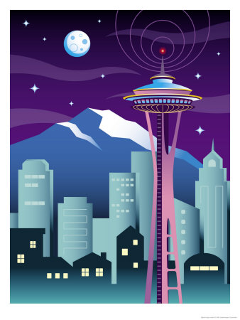 A View of the Skyline in Seattle, WA Art Print