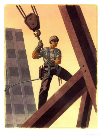 A Steel Worker Standing on Beams Art Print