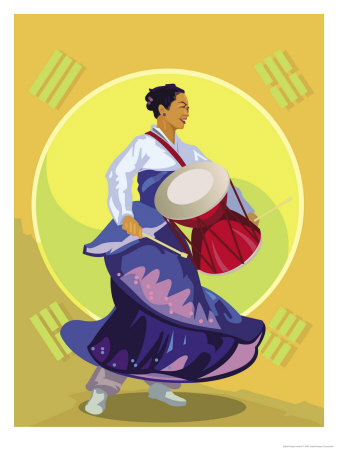 Traditional Korean Drummer Print