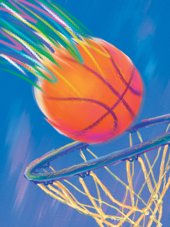 Basketball Going into Hoop Reproduction d'art
