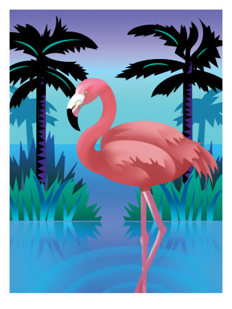 A Flamingo Standing in Water Reproduction d'art