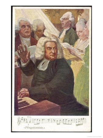 Johann Sebastian Bach German Organist and Composer Conducts the Whitsunday Cantata Premium Giclee Print by O. Friedrich