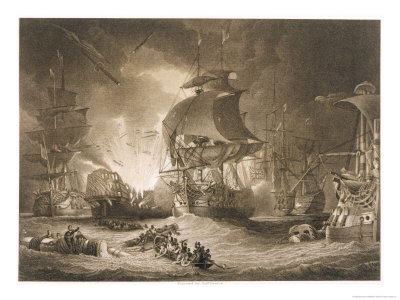 Egyptian Campaign Battle of the Nile Premium Giclee Print by George Arnald