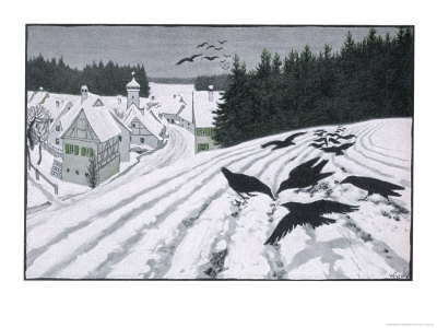 Crows Search for Food in the Snow in Fields on the Outskirts of a German Village Giclée-tryk