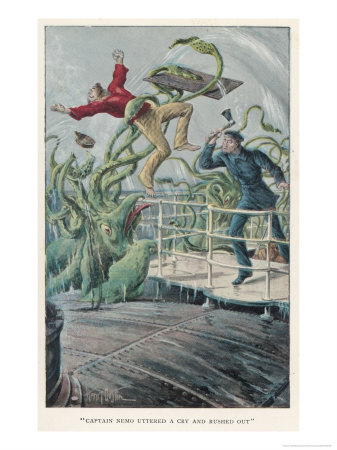 20000 Leagues Under the Sea: Attack from a Giant Squid Impressão giclée