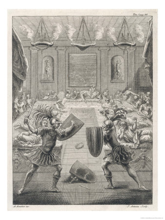 Gladiators Performing as after Dinner Entertainment Giclee Print by S. Antoine