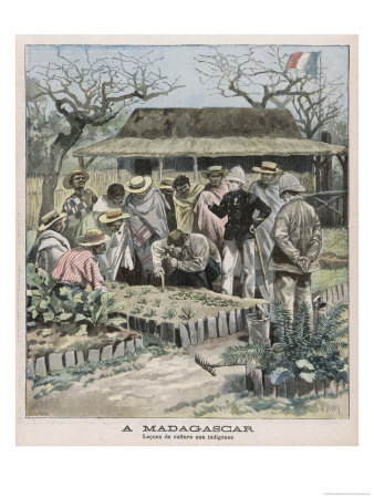 Benevolent Colonialism, in Madagascar the French Instruct the Natives in Horticultural Techniques Giclee Print by  Carrey