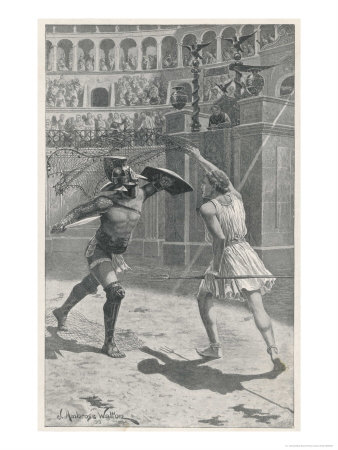 Gladiators in Combat in an Arena Premium Giclee Print by J. Ambrose
