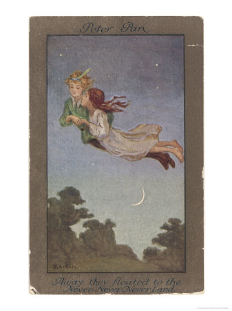 Peter Pan and Wendy Fly to Never-Never Land Giclee Print