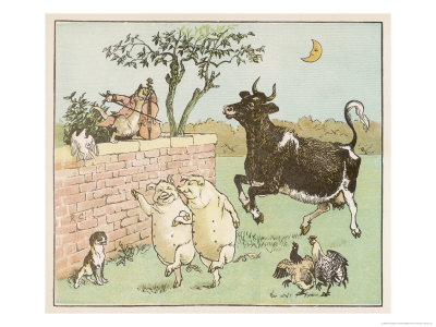 The Cow Jumped Over the Moon Premium Giclee Print by Randolph Caldecott
