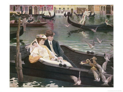 Couple in a Gondola on the Canals of Venice Premium Giclee Print by L. De Joncieres