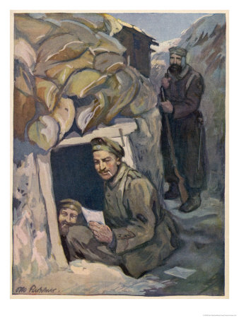 German Soldiers Read Letters in Their Dug-Out Giclee Print