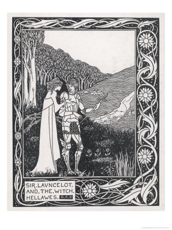 Sir Lancelot and the Witch Hellawes Giclée-tryk