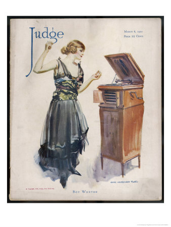 Boy Wanted! a Girl on Her Own Plays Her Phonograph Premium Giclee Print by James Montgomery Flagg