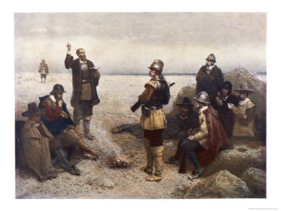 """The """"Pilgrims"""" Give Thanks to God for Their Safe Voyage after Landing in New England Giclee Print by G.h. Boughton"""