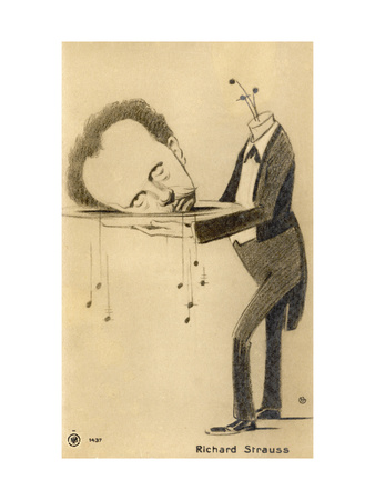 Richard Strauss the German Composer: a Satire on His Opera Salome Giclee Print by Oscar Garvens