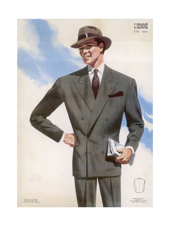 Frenchman in a Formal Pin- Striped Suit with a Double- Breasted Jacket with Long Lapels Premium Giclee Print by Jean Darroux