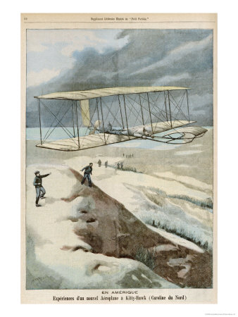 Orville and Wilbur Wright Make the First Successful Powered Flight at Kitty Hawk North Carolina Giclee Print by  Carrey