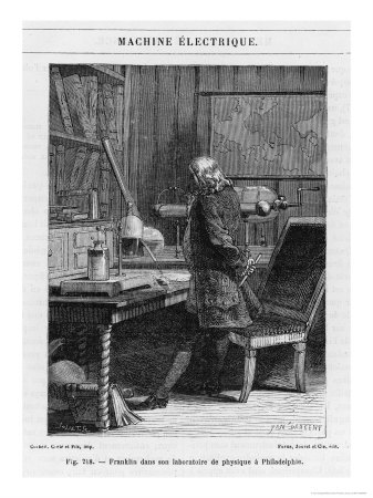Benjamin Franklin American Statesman Scientist and Philosopher in His Physics Lab at Philadelphia Premium Giclee Print by Yan D'argent