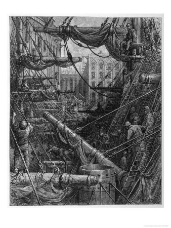 Chaotic Scene of Ships Dockers and Warehouses Premium Giclee Print by Gustave Doré