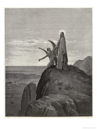 Jesus is Tempted by Satan in the Wilderness Premium Giclee Print by Gustave Doré