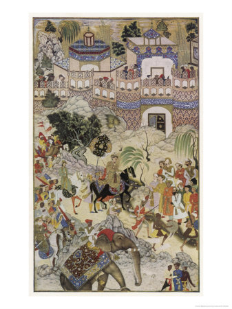 Mughal Emperor Akbar Enters Surat Gujerat after an Astonishingly Rapid 11-Day Campaign Premium Giclee Print by Farrukh Beg