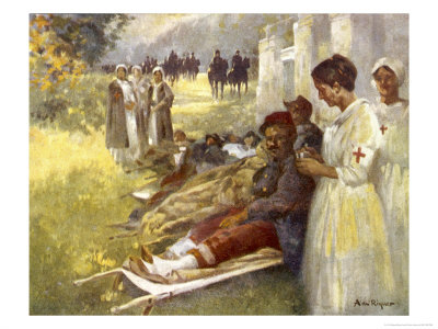 Nurses Attend to Wounded French Soldiers Premium Giclee Print by A. De Riquer