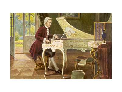 Wolfgang Amadeus Mozart the Austrian Composer Playing an Ornate Harpsichord Premium Giclee Print by T. Beck