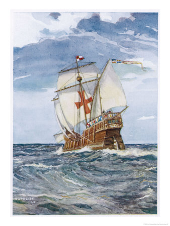 Columbuss Caravel Formerly the Marigalante Premium Giclee Print by C.p. Carruthers