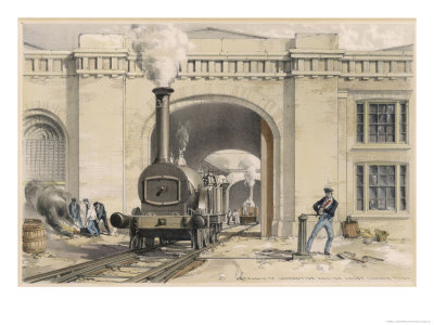 Midland Railway Locomotive at the Camden Roundhouse London Giclee Print by J.c. Bourne