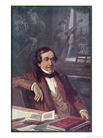 """Gioacchino Rossini Composing His Opera """"Il Barbieri Di Seviglia"""" First Performed Premium Giclee Print by L. Balestrieri"""