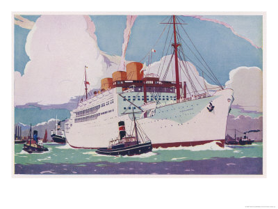 Passenger Liner of the Peninsular and Oriental Steam Navigation Company Premium Giclee Print by Howard Coble