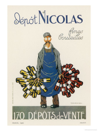 Poster for the Nicolas Chain of Wine Shops France Giclée-tryk af  Dransy