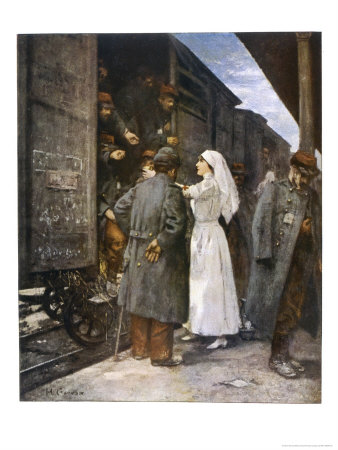 Wounded French Soldiers on an Ambulance Train are Tended by a Nurse During a Stop at a Station Premium Giclee Print by Henri Gervex
