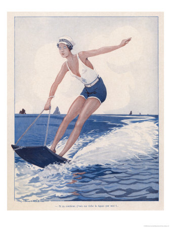 The Unusual Sport of Aquaplaning, a Variation on Water Skiing Premium Giclee Print by Henry Fournier
