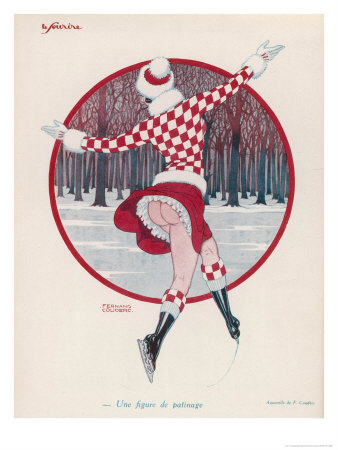 Brightly Dressed Girl Whizzes Around on the Ice, She Doesn't Seem to Feel the Cold Either Premium Giclee Print by F. Couderc