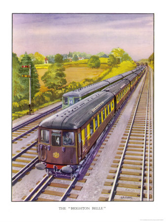 """The Southern Railway's Electric Pullman Express the """"Brighton Belle"""" Between London and Brighton Premium Giclee Print by R.m. Clark"""