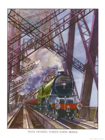 London and North Eastern Railway Train Crosses the Forth Bridge Near Edinburgh Scotland Premium Giclee Print by R.m. Clark