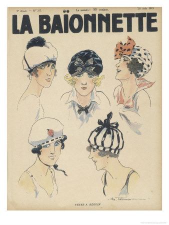 Five Styles of Cap for the Summer Resembling Bathing Caps Berets and Turbans Premium Giclee Print by Henry Fournier