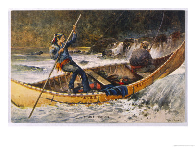 Fishing for Trout in Rapids Canada Premium Giclee Print by Frank Feller