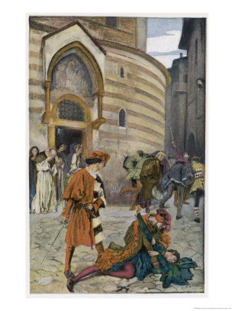 Romeo and Juliet, Act III Scene I, The Death of Mercutio Romeo's Friend Giclee Print