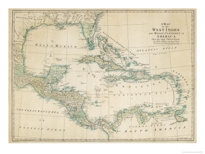 The Caribbean with the West Indies and the Coasts of the United States and the Spanish Possessions Premium Giclée-tryk af John Blair