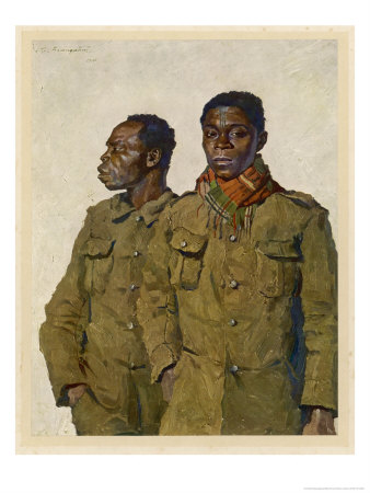 Soldiers from Liberia Fighting with the Allies in World War One Premium Giclee Print by Theodor Baumgartner