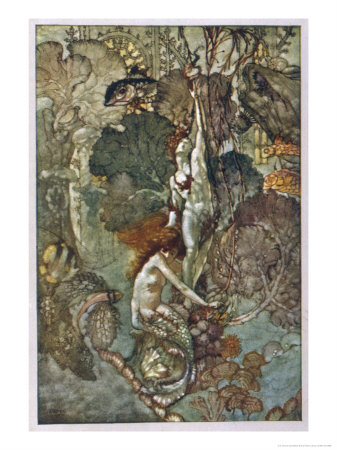 The Little Mermaid Hugs the Statue of the Prince Premium Giclee Print by A. Duncan Carse