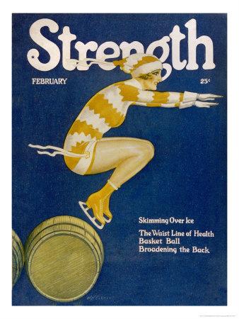 Strength: Girl Ice Skating over Barrels Premium Giclée-tryk af W.n. Clyment