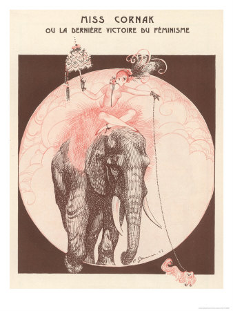 Circus Elephant and His Trainer Miss Cornak Premium Giclee Print by  Gesmar