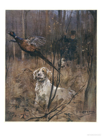 Pheasant Shooting, Old Style Giclee Print by G. Denholm