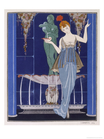 Tunic Dress by Paquin: Draped Tango Skirt with Front Split and Train Premium Giclee Print by Georges Barbier