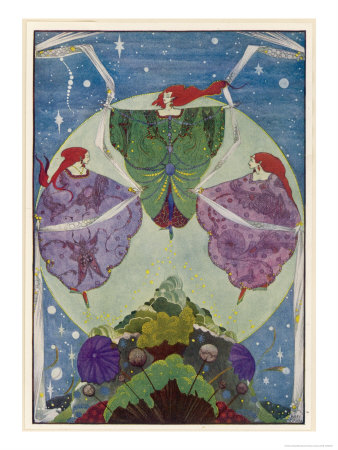 Three Mysterious Women Float Above the Hill Premium Giclee Print by Harry Clarke