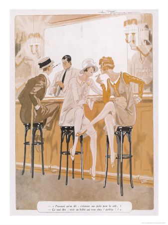 Two Flappers Gossip at a Bar Premium Giclee Print by Paul Fournier